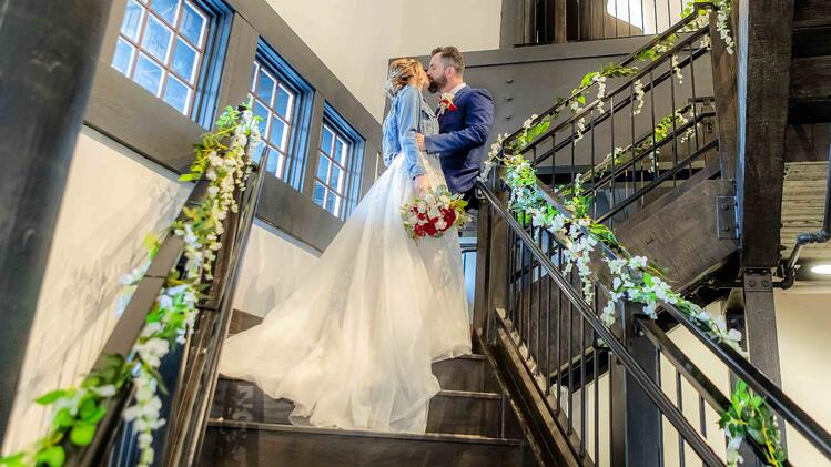 Bride & Groom Kiss On The Industrial Staircase - Aaron & Lynnea's Wedding