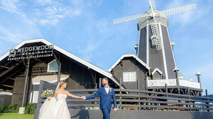 Bride & Groom In Front of The Carlsbad Windmill - Aaron & Lynnea's Wedding