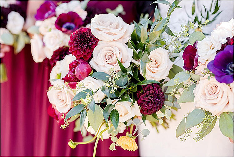 stunning wedding bouquets of pink roses and gold accents