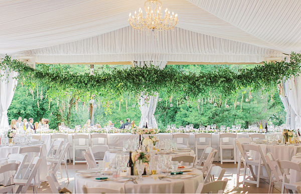 Outdoor Reception Pavilion with Verdant Oversized Florals