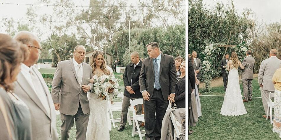 Bride Walking Down the Aisle - The Orchard - Menifee, California - Riverside County - Wedgewood Weddings