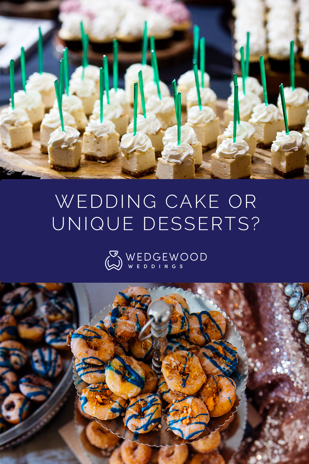 There are so many equally delicious alternatives to the typical wedding cake. Check out some of our suggestions here! Newlyweds often offer wedding cake alternatives at their reception. 69% of couples serve cake—but 53% also serve an alternative wedding dessert