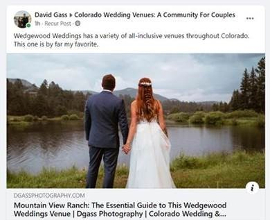 Facebook Post about Mountain View Ranch by Wedgewood Weddings
