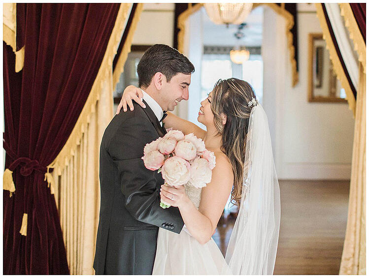 Happy Newlyweds & Beautiful Peony Bouquet by A Love's In Bloom
