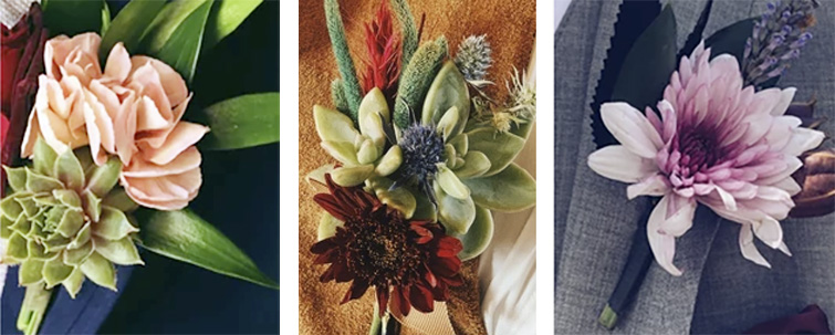 Elegant and Colorful Boutonnières by Camino Flower Shop