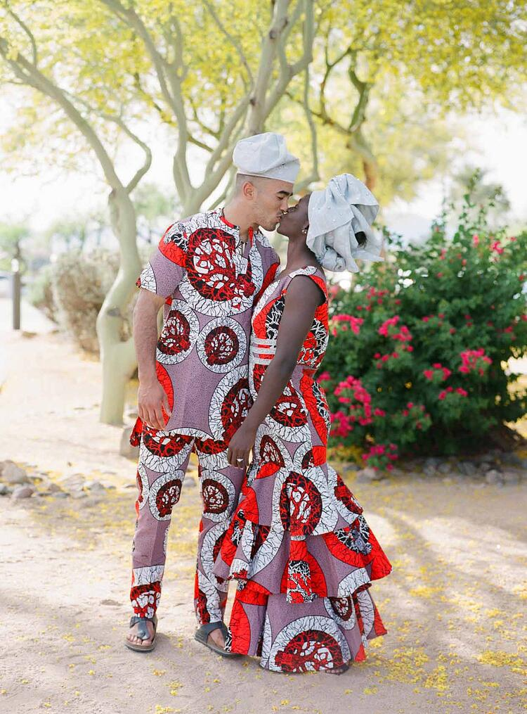 Traditional Nigerian Wedding Outfits With Bold Pattern For The Rehearsal Dinner