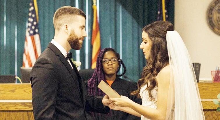 Eric and Katrina Celebrate With a Courthouse Wedding. Photo by Erika Greene Photography