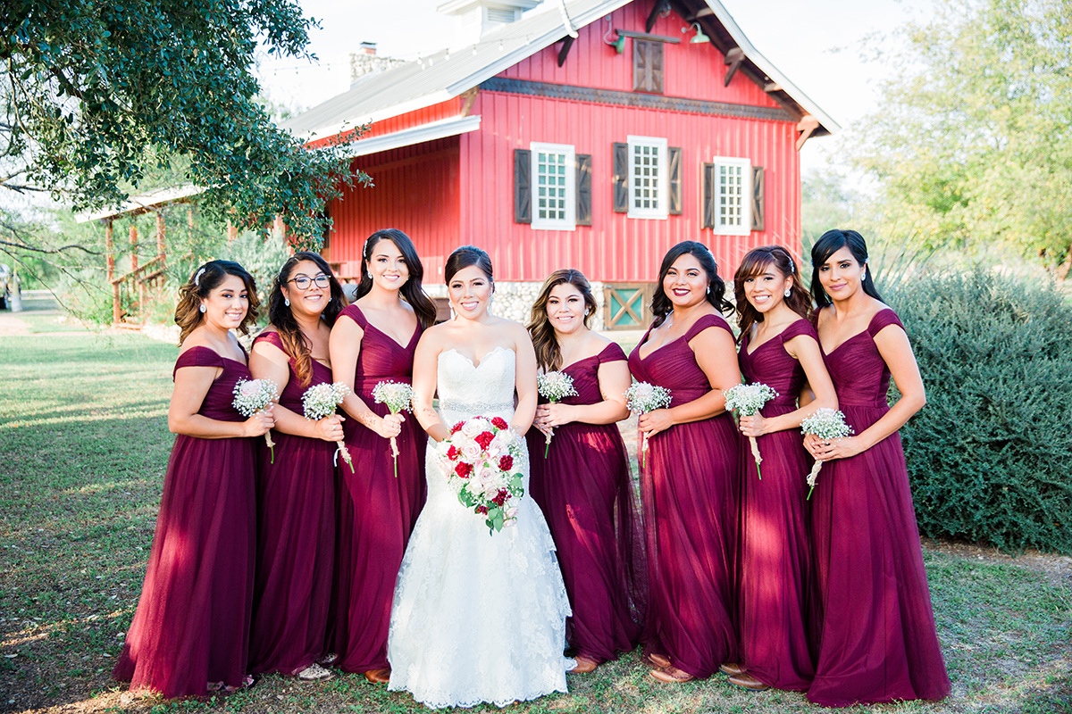 Bridal Party in Red at Hofmann Ranch, TX