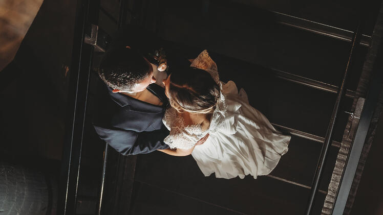 Industrial Staircase Photo of the Bride & Groom | The Carlsbad Windmill | Focus On Love Photography
