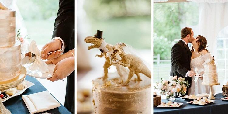 Dinosaur Wedding Cake: Romantic Creekside Summer Wedding at Boulder Creek