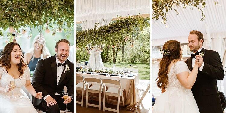 After the ceremony, guests retreated to the cocktail patio and lawn for some festive games and conversation. The indoor/outdoor covered tented reception space was decked out with coordinating florals, a mixture of round and farmhouse tables, with blue linens and a bit of sparkle.