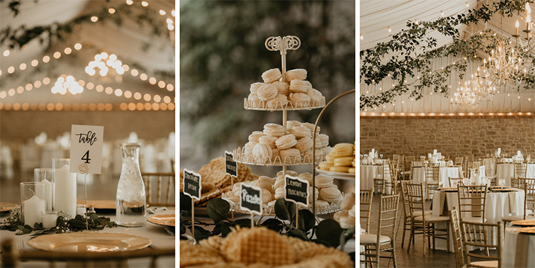 Stonebridge Manor: top it all off with Golden accents, twinkle lights, and romantic florals