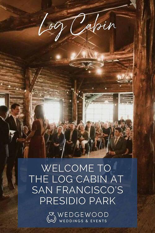 If you dream of a wedding venue filled with rustic charm and history, right on the edge of San Francisco's most famous park, look no further. The Log Cabin at the Presidio by Wedgewood Weddings checks all those boxes and more and we are thrilled to welcome it to our family of Bay Area wedding venues. To the east, opposite the oversized hearth and central dance area, you'll enjoy the stunning Presidio landscape through a wall of windows. Outside you'll find an expansive lawn featuring views of the Golden Gate Bridge and the city skyline. Let's take a tour of this incredibly unique and affordable historical venue!