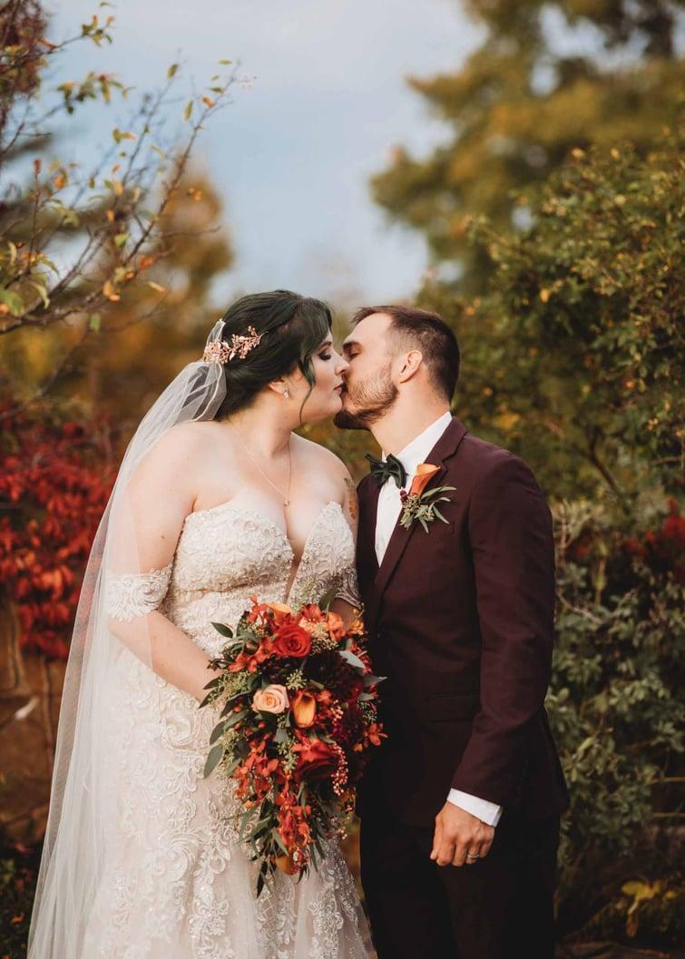 Fall Garden Kiss | Fall Wedding | Madison & Tyler's Wedding at Granite Rose