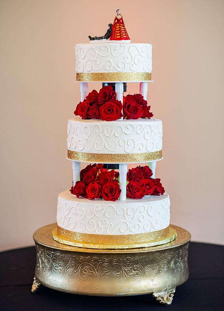 Indian Fusion White & Gold Wedding Cake