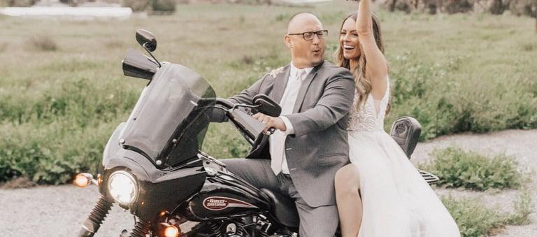 Motorcycle Couple - Orchard - Menifee, California - Riverside County - Wedgewood Weddings