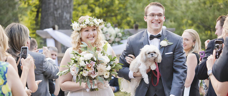 Stephanie and Robert with their pup at Boulder Creek by Wedgewood Weddings