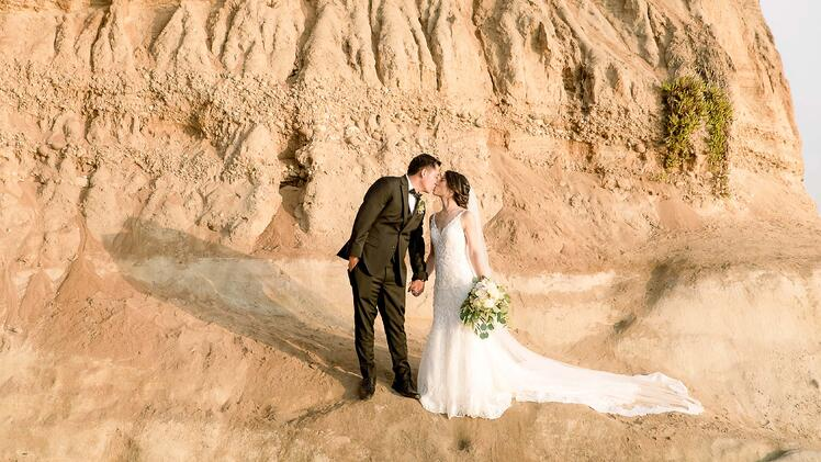 Bride & Groom By The Cliffs of Carlsbad - The Carlsbad Windmill