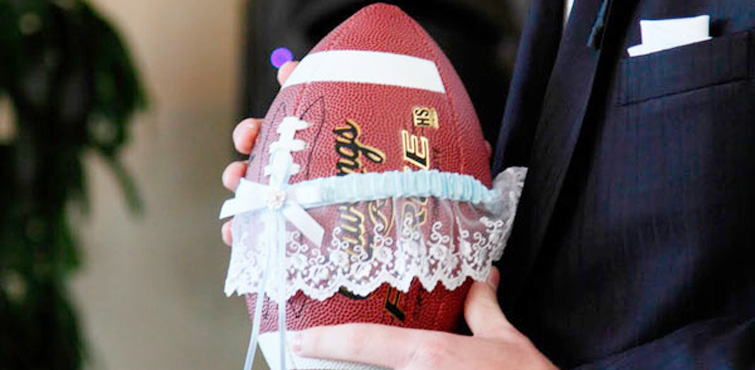There are so many ways to add your love of football into your wedding - from subtle touches to tuning on the big screen with all your friends and family.