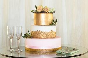 Pink and Gold Metallic Wedding Cake - Wedgewood Weddings