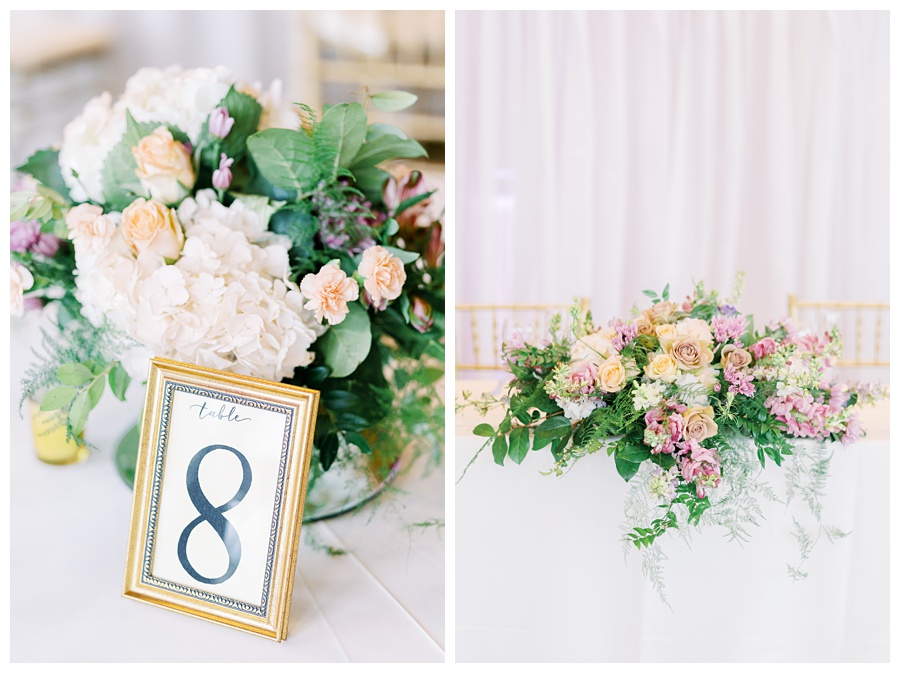 Romantic Gold and Dusty Rose Centerpieces by Flower Divas
