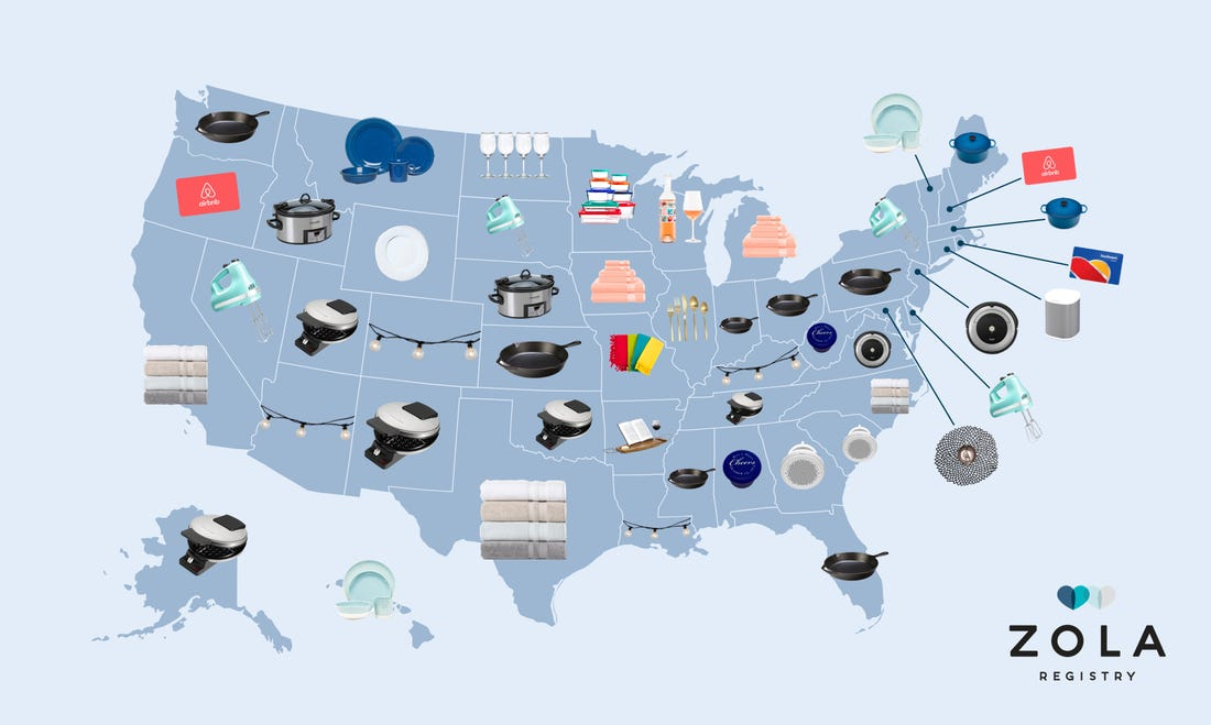 United States Map - Zola Most Popular Registry Gifts by State - Wedgewood Weddings