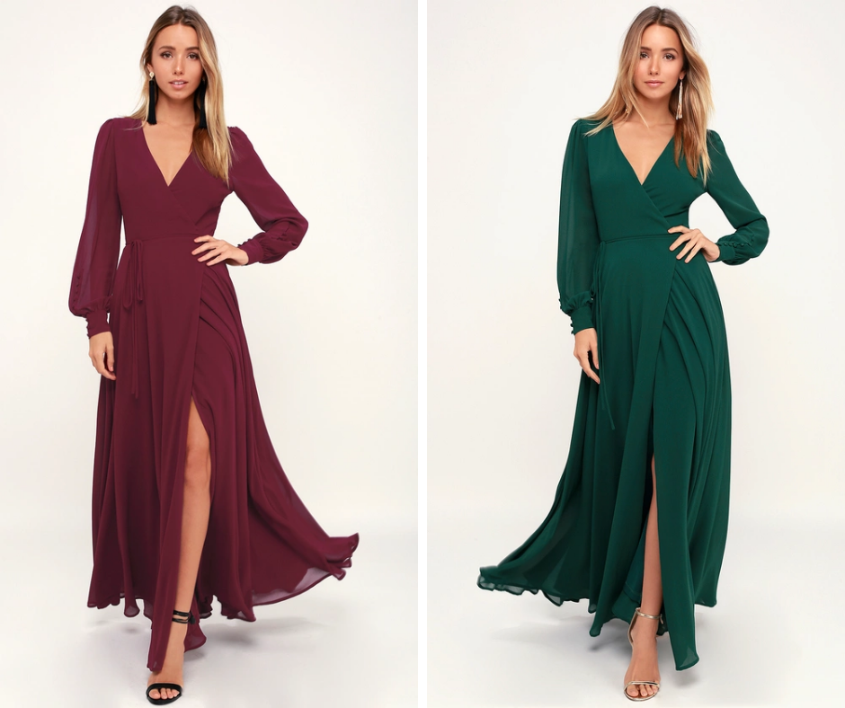 maxi dresses for wedding guests in autumn colors