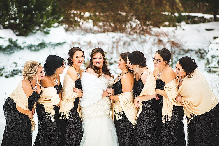 Bridal Party in Winter at Granite Rose, NH