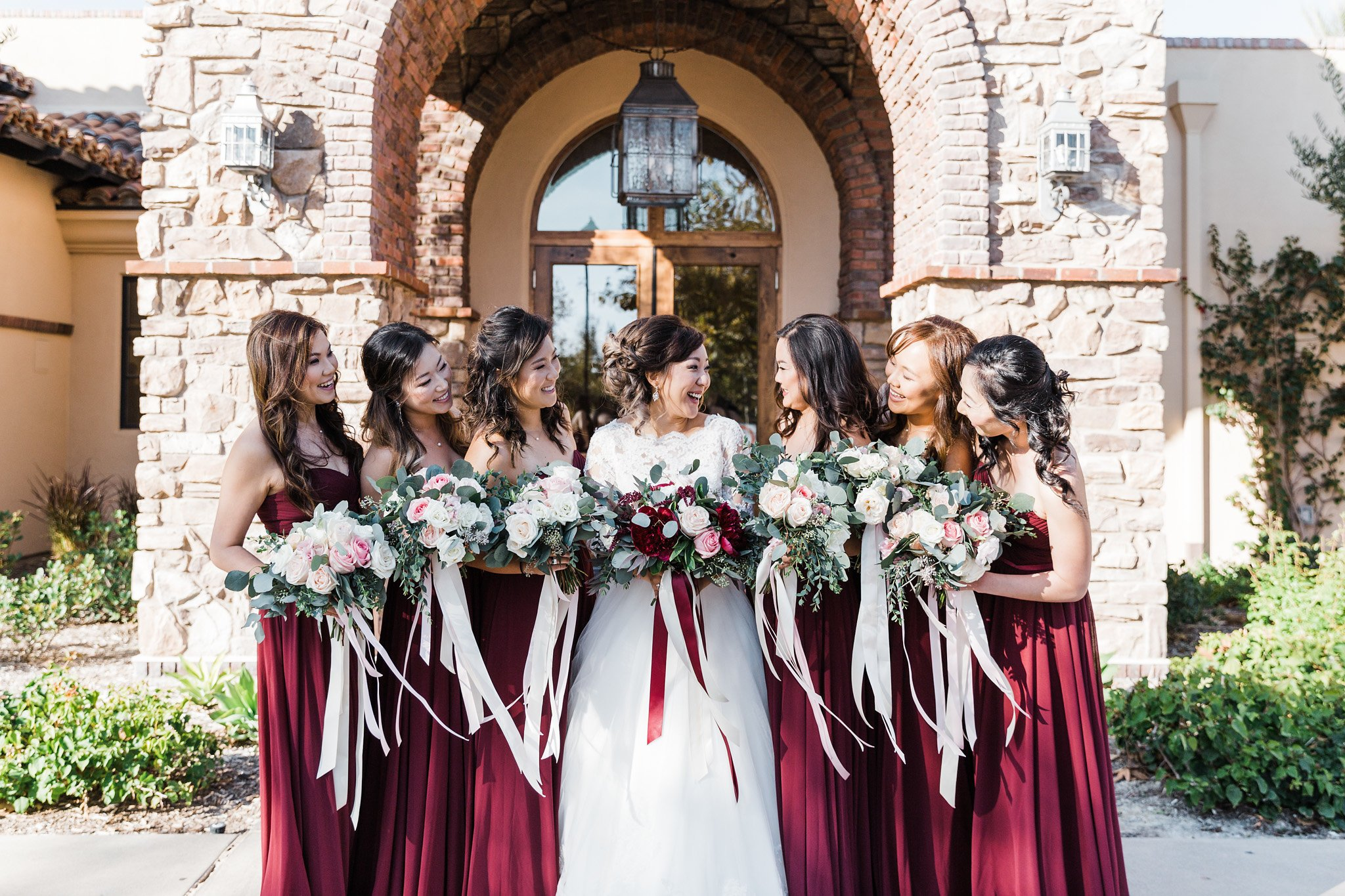 maroon fall bridesmaid dresses at Aliso Viejo by Wedgewood Weddings