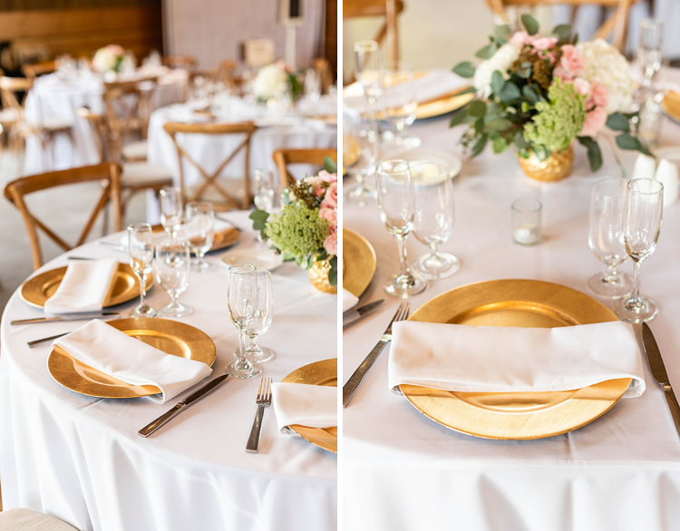 gold and floral table settings at Galway Downs