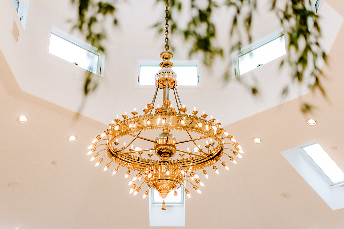The grand chandelier at Granite Rose is originally from the Ritz Carlton Paris