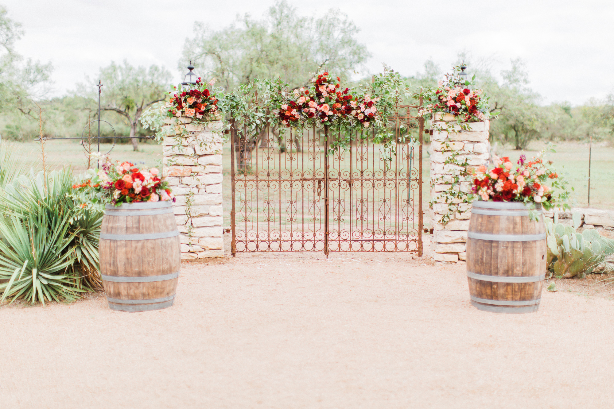 Autumn floral arrangements at Hofmann Ranch by Wedgewood Weddings