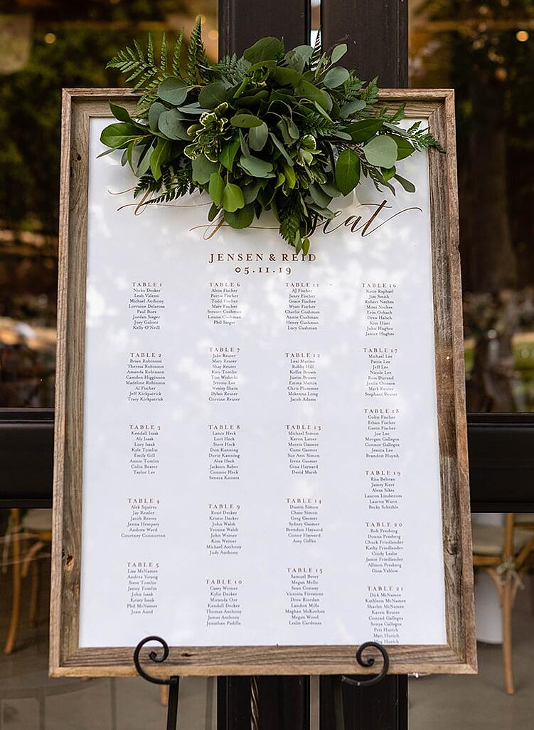 wedding reception table assignment sign at Galway Downs