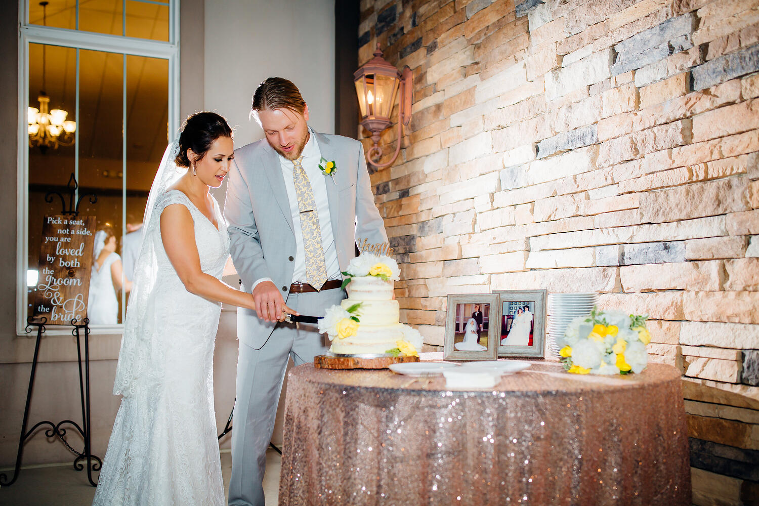 Cake cutting at Ken Caryl Vista by Wedgewood Weddings