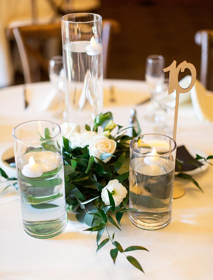 gold and white floral centerpieces