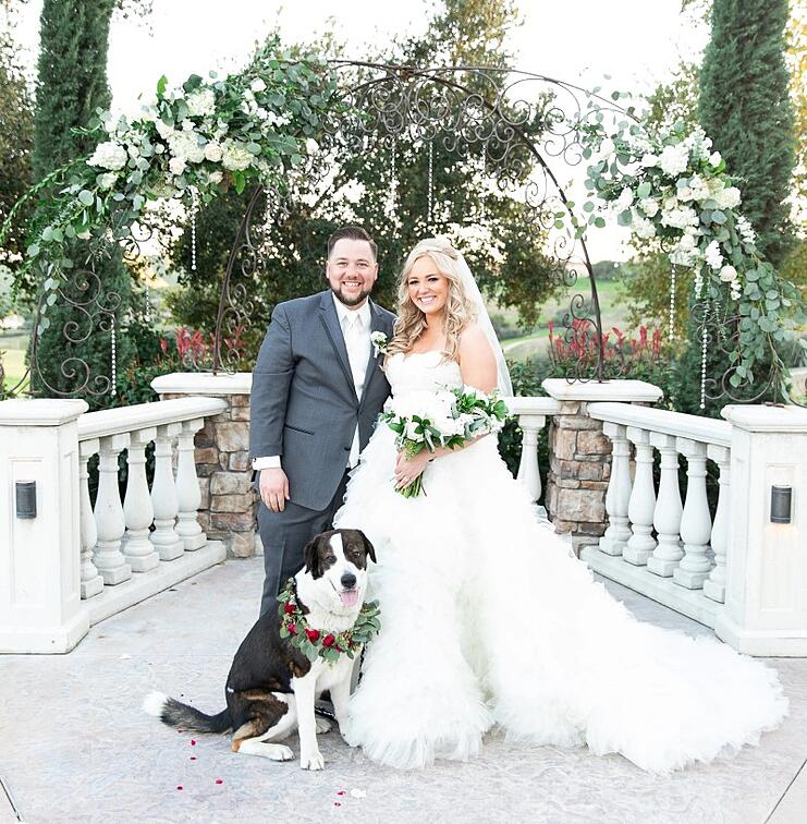 bride and groom pose with their dog at Vellano Estate