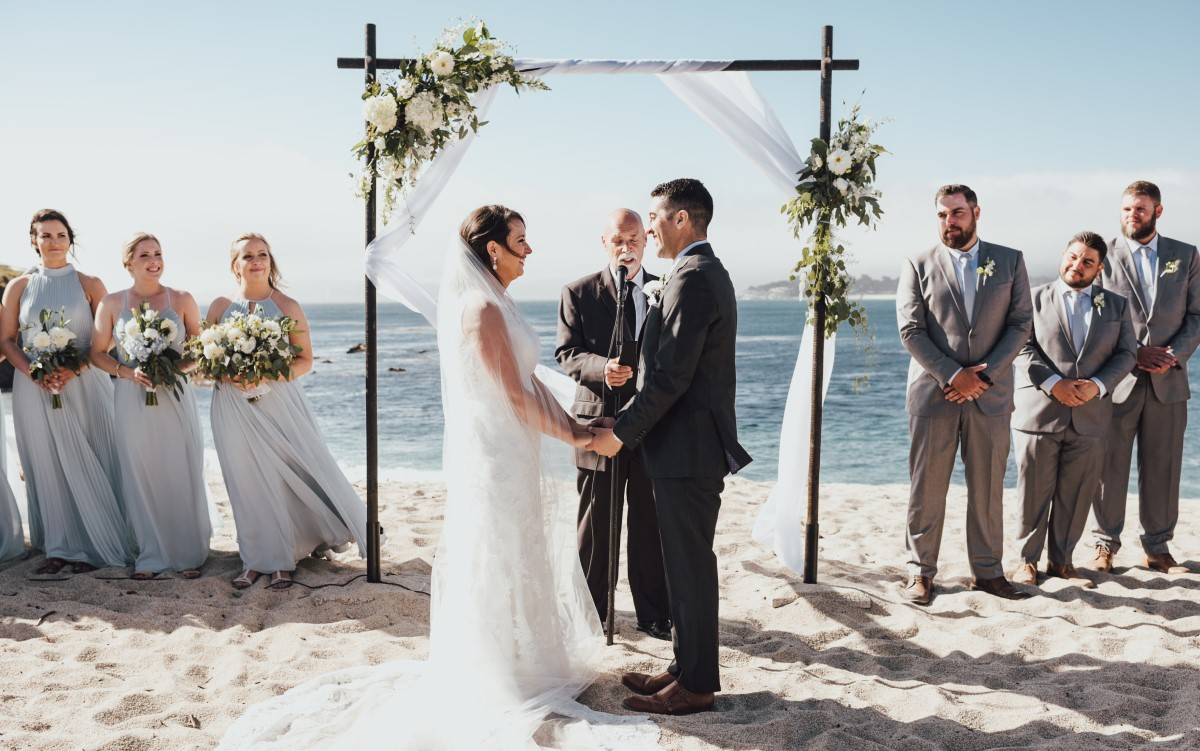 California beach wedding ceremony at Carmel Fields in Monterey County