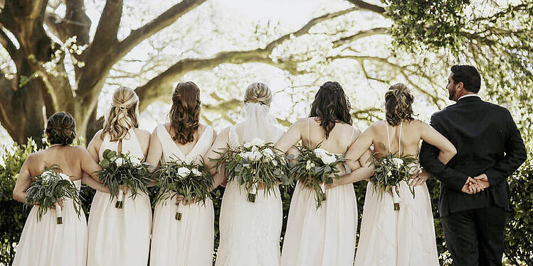 Wedgewood Weddings Bridal Party in Neutral hues