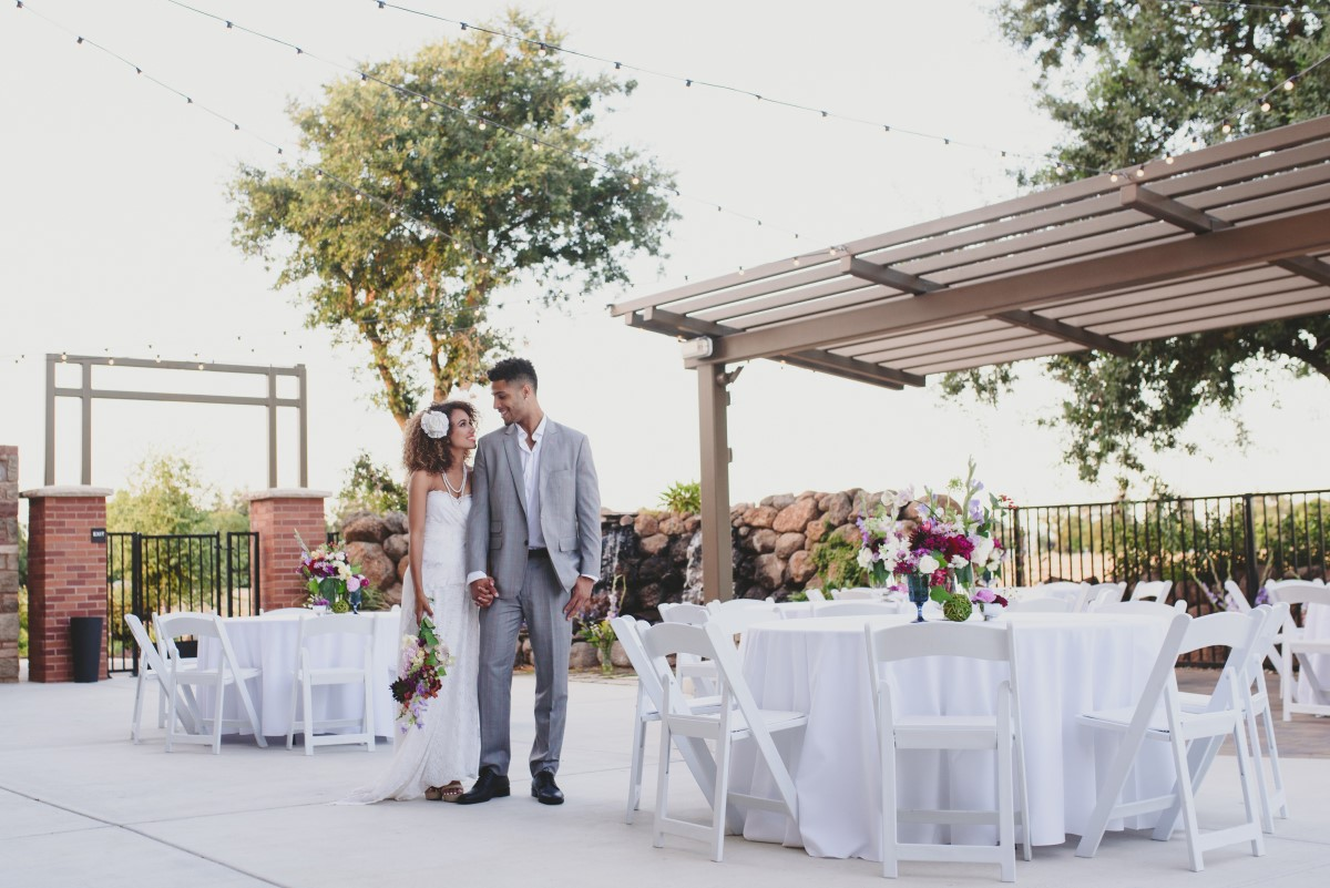 Outdoor wedding ceremony and cocktail hour at Evergreen Springs in Elk Grove