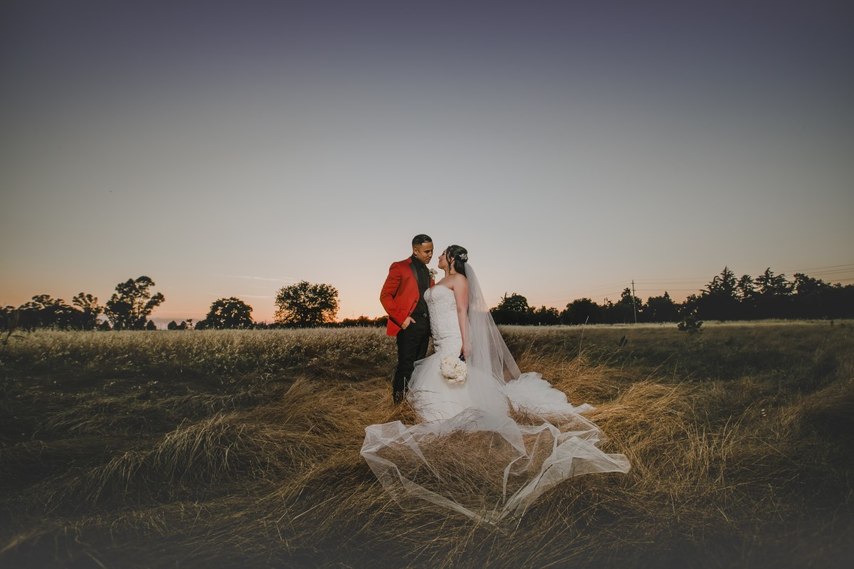 A sunset wedding in Sacramento at Evergreen Springs venue