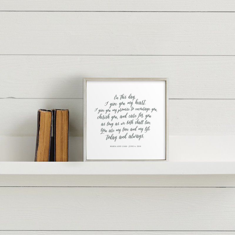 Framed vows from Minted