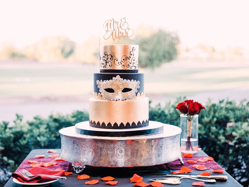 Macabre Masquerade Wedding Cake