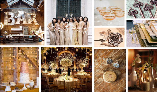 metallic wedding color trends - gold wedding decor
