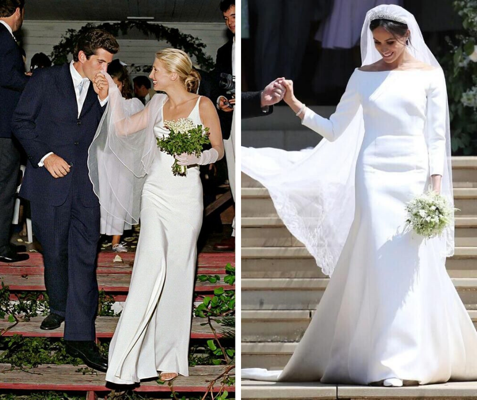 Carolyn Bessette-Kennedy and Meghan Markle in minimalist wedding dresses