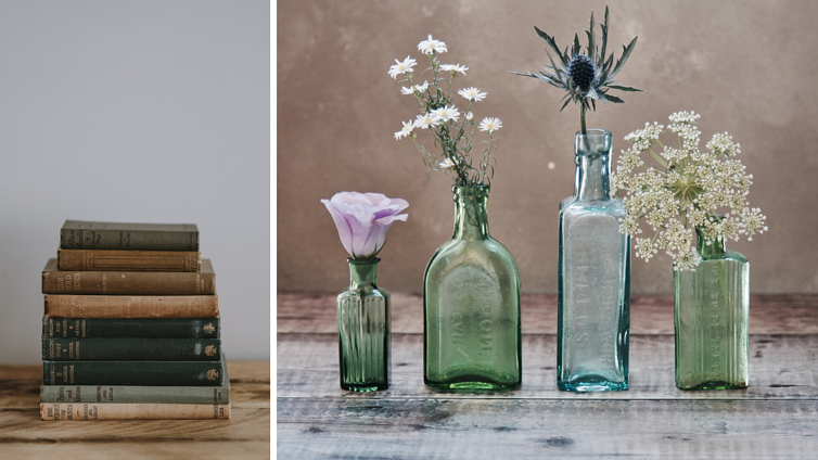 upcycle bottles and books for vintage wedding centerpieces