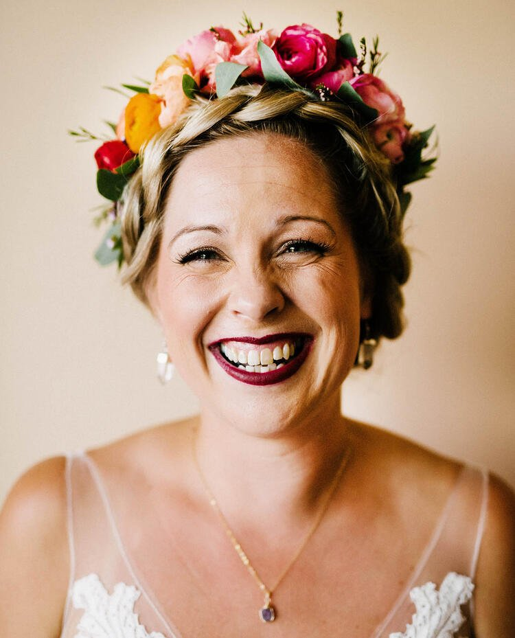 Gorgeous Bride With Colorful Flower Crown by Painted Primrose