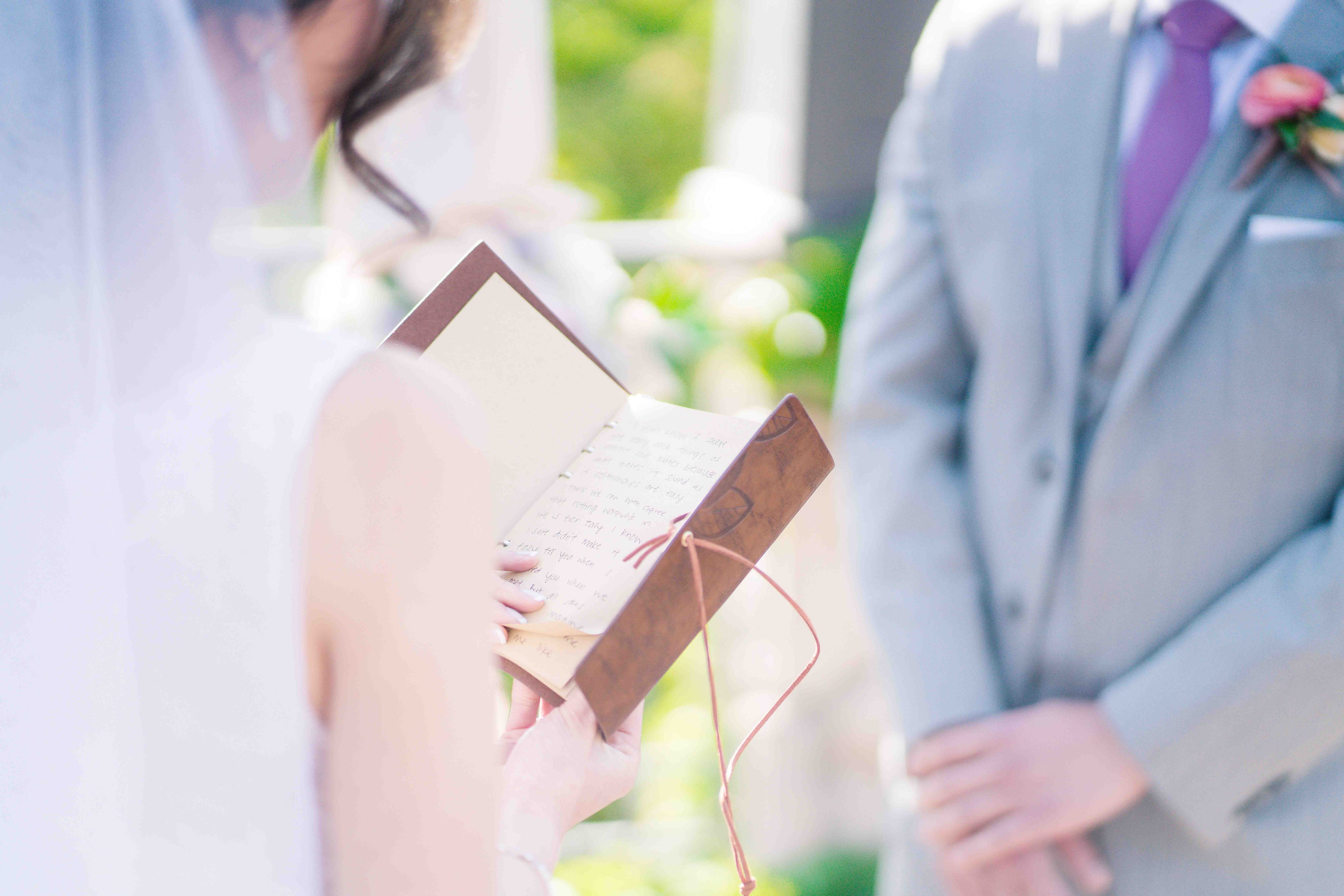 Beautiful Handwritten Vows at Cindy and Devin's Wedding