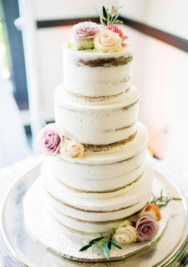 Beautiful Rustic Naked Wedding Cake by Krumbs Cakes