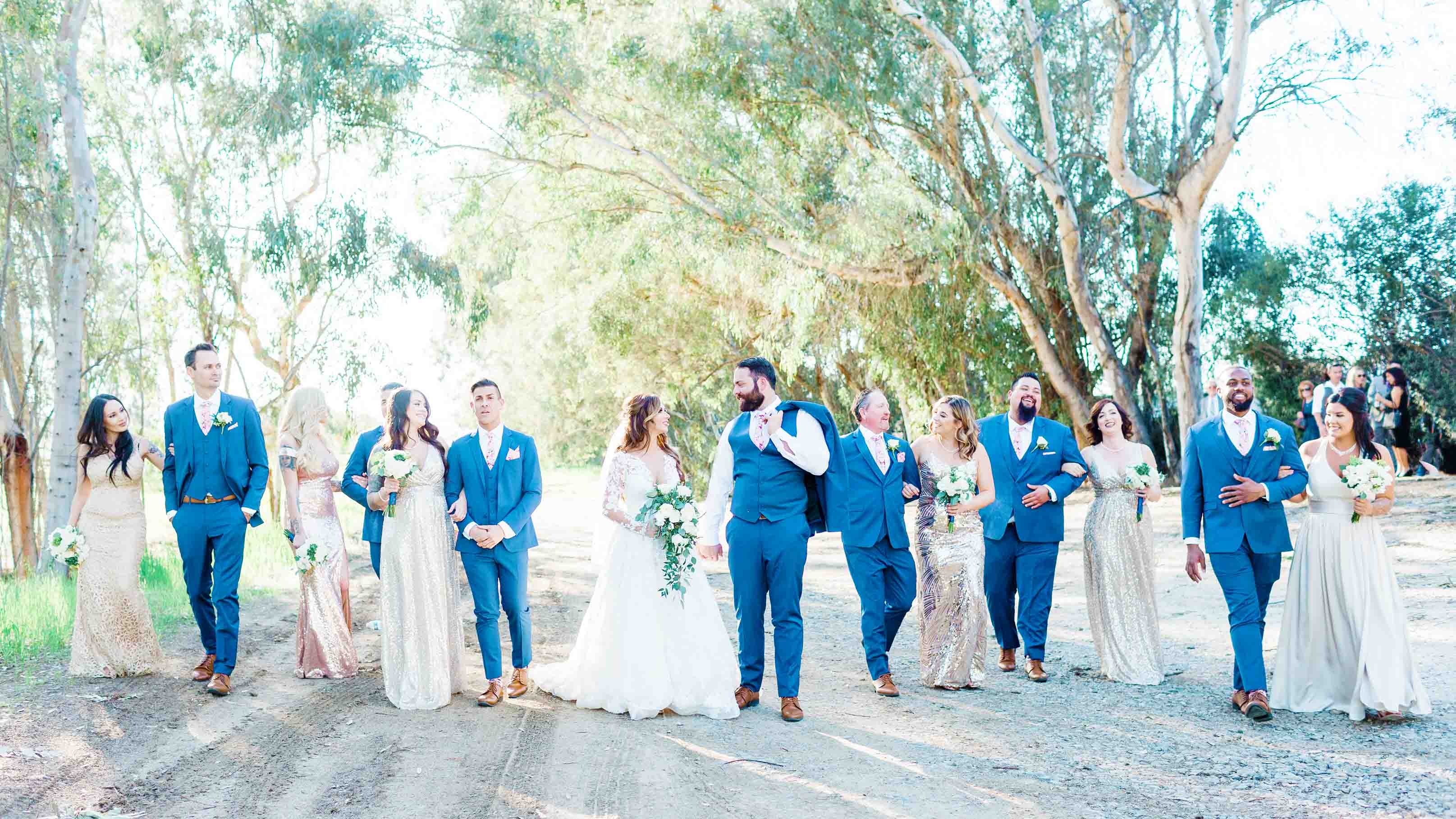 Gorgeous Bridal Party in Blue and Sequins at The Orchard