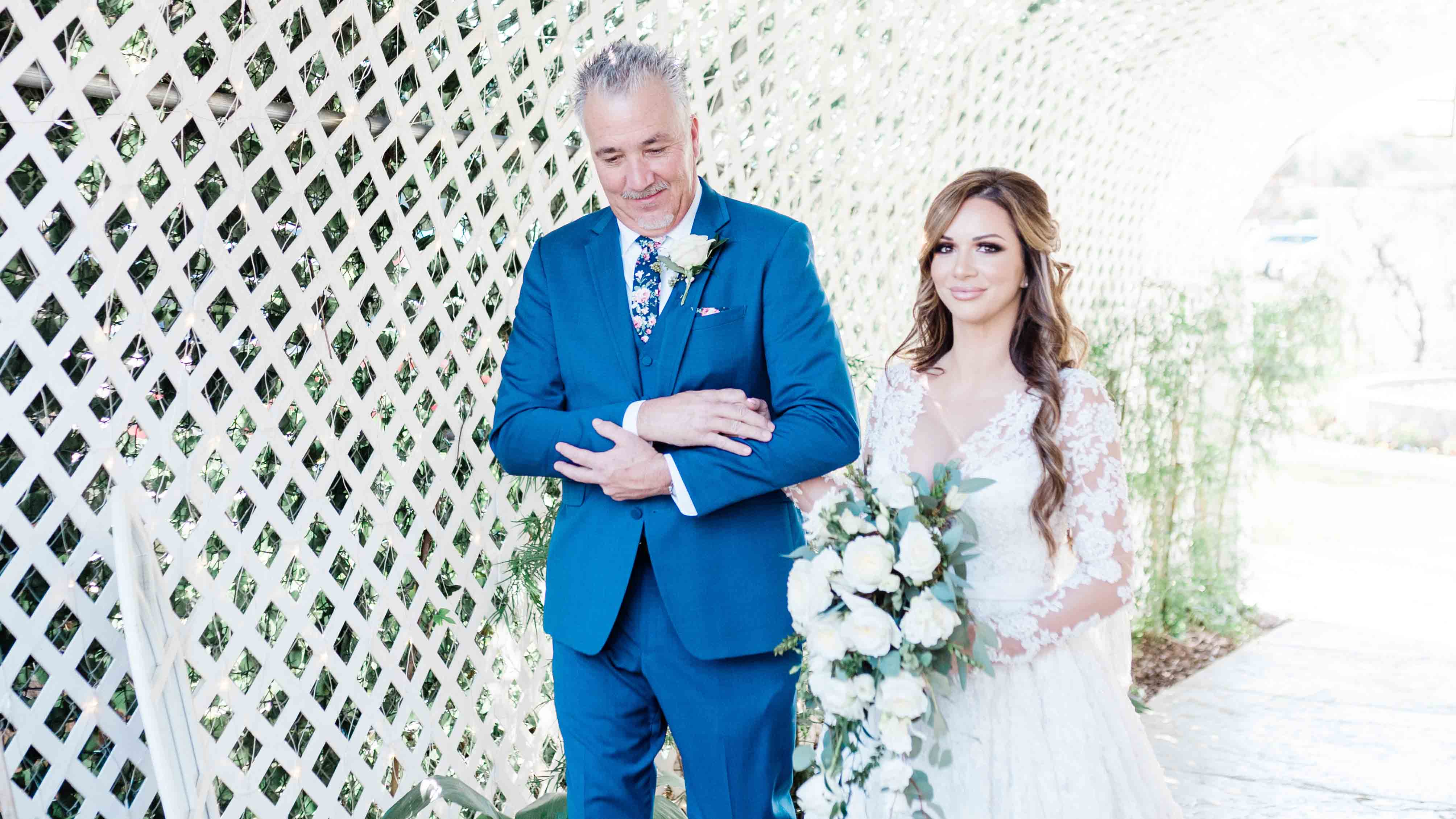 Bride Walks Down The Aisle With Her Father at The Orchard